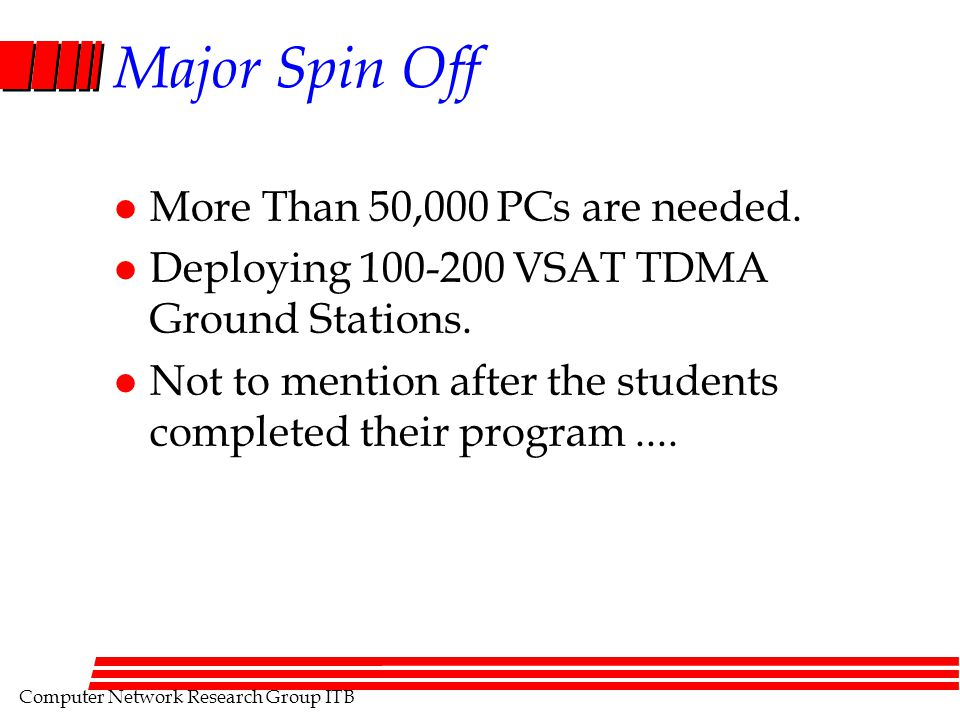 Computer Network Research Group ITB Major Spin Off l More Than 50,000 PCs are needed. l Deploying 100-200 VSAT TDMA Ground Stations. l Not to mention