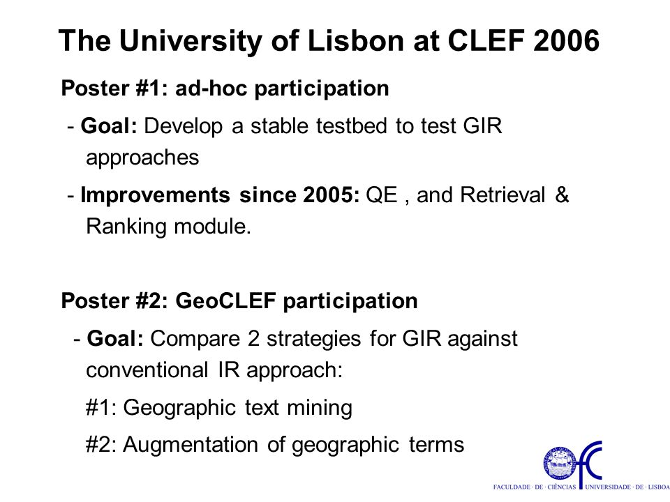 Geographic text mining (strategy #1 at GeoCLEF 2006): 1) Mining geographic references from text.