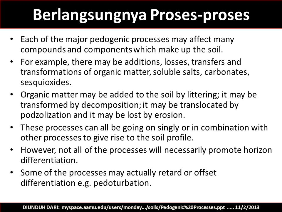 Berlangsungnya Proses-proses Each of the major pedogenic processes may affect many compounds and components which make up the soil. For example, there