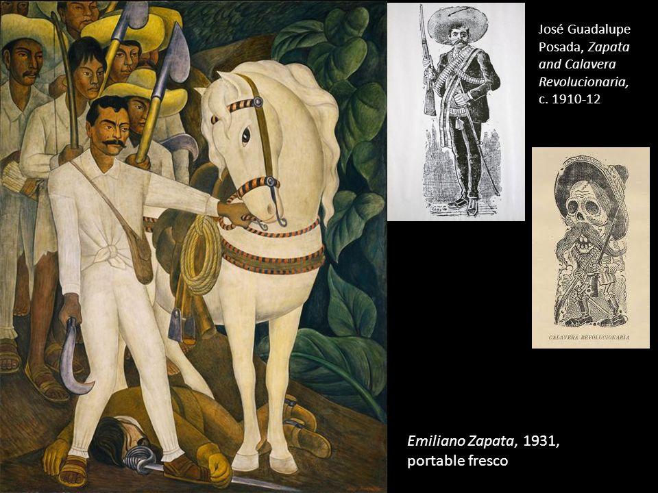 Emiliano Zapata, 1931, portable fresco José Guadalupe Posada, Zapata and Calavera Revolucionaria, c.