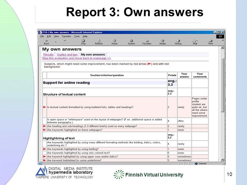 DIGITAL MEDIA INSTITUTE hypermedia laboratory Finnish Virtual University TAMPERE UNIVERSITY OF TECHNOLOGY 10 Report 3: Own answers