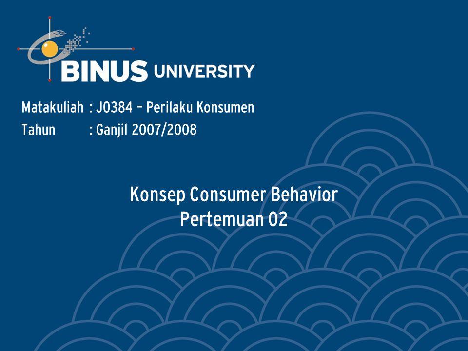Konsep Consumer Behavior Pertemuan 02 Matakuliah: J0384 – Perilaku Konsumen Tahun: Ganjil 2007/2008