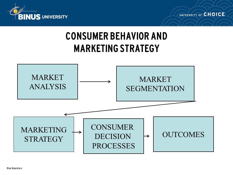 Bina Nusantara CONSUMER BEHAVIOR AND MARKETING STRATEGY MARKET ANALYSIS MARKETING STRATEGY MARKET SEGMENTATION CONSUMER DECISION PROCESSES OUTCOMES