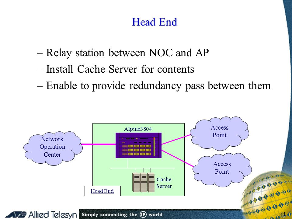 - 41 - Copyright Allied Telesis 2001 41 –Relay station between NOC and AP –Install Cache Server for contents –Enable to provide redundancy pass betwee