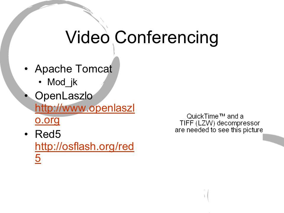 Video Conferencing Apache Tomcat Mod_jk OpenLaszlo http://www.openlaszl o.org http://www.openlaszl o.org Red5 http://osflash.org/red 5 http://osflash.
