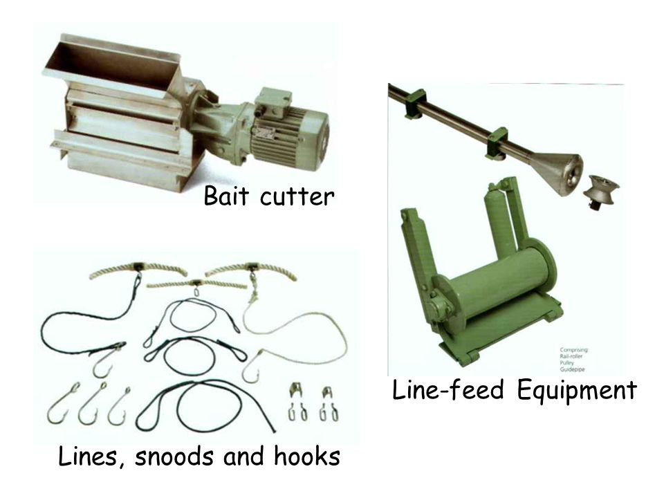 Lines, snoods and hooks Bait cutter Line-feed Equipment