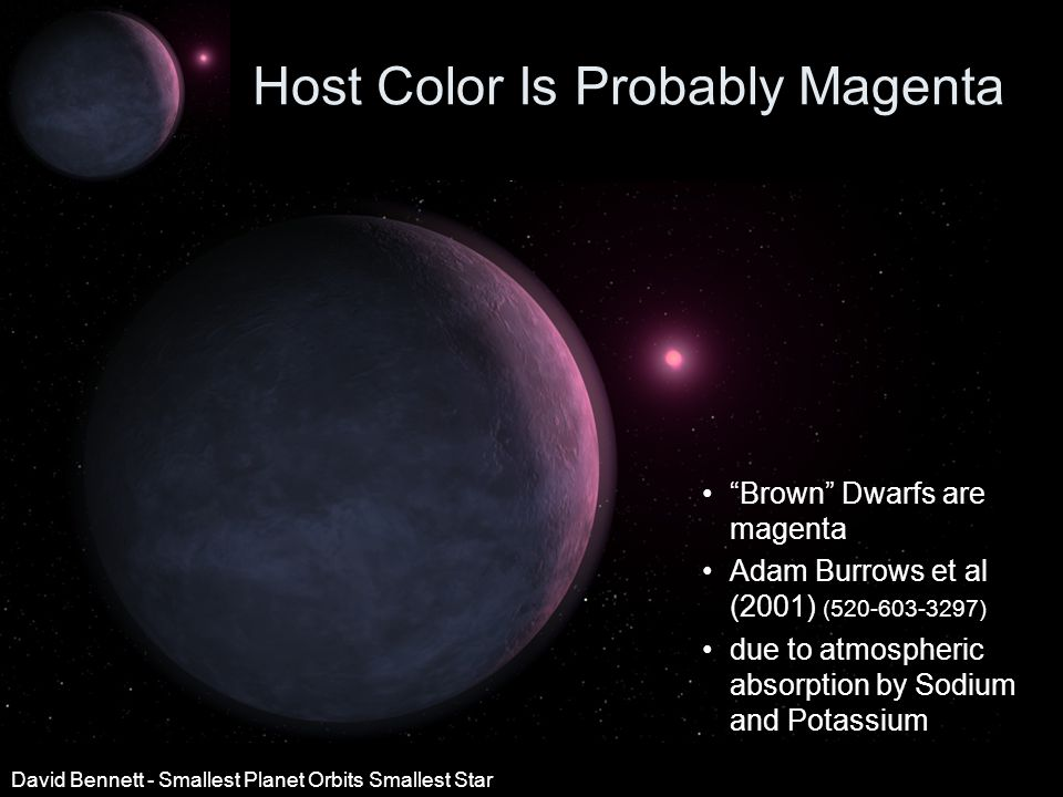 Host Color Is Probably Magenta Brown Dwarfs are magenta Adam Burrows et al (2001) (520-603-3297) due to atmospheric absorption by Sodium and Potassium David Bennett - Smallest Planet Orbits Smallest Star
