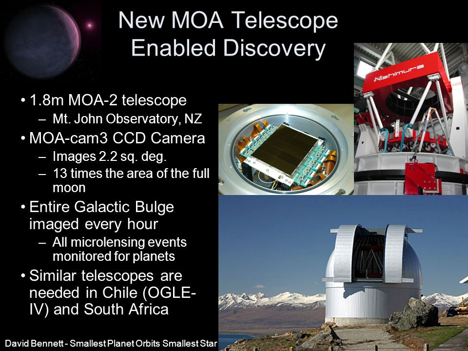 New MOA Telescope Enabled Discovery 1.8m MOA-2 telescope –Mt.