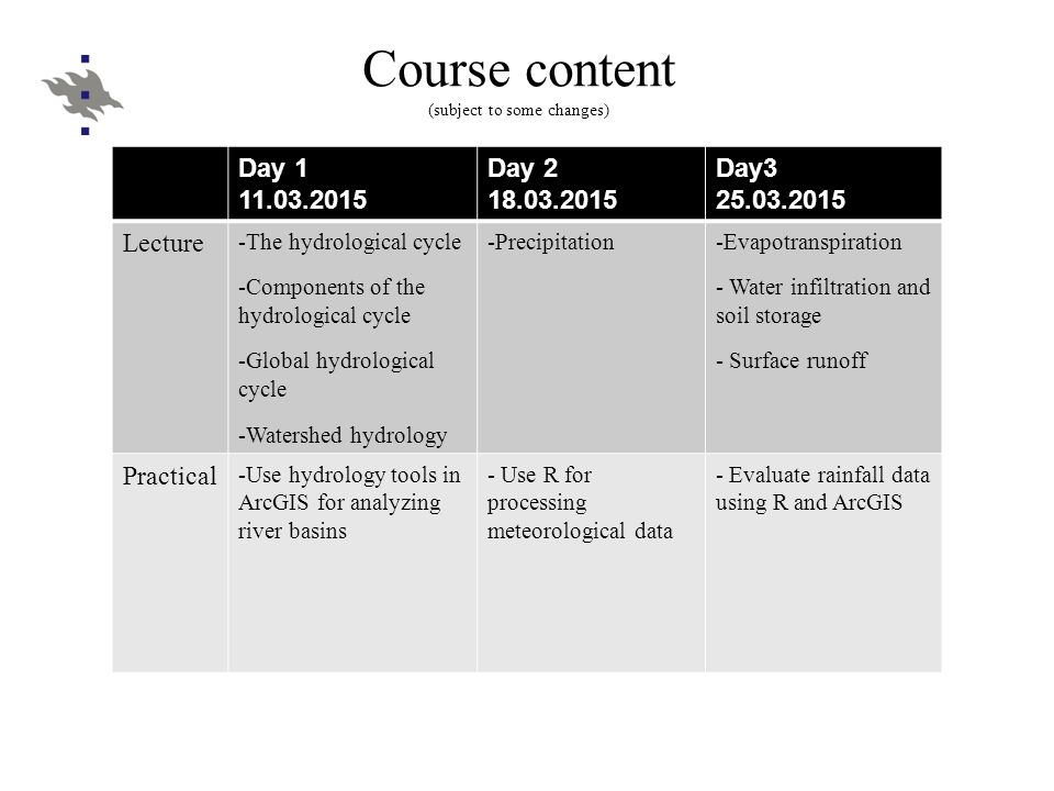 Course content (subject to some changes) Day 1 11.03.2015 Day 2 18.03.2015 Day3 25.03.2015 Lecture -The hydrological cycle -Components of the hydrolog