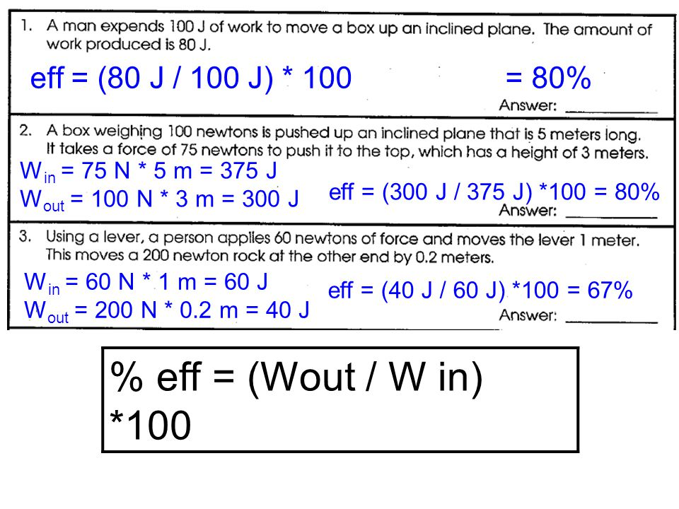 % eff = (Wout / W in) *100 W in = 25 N * 10 m = 250 J W out = 60 N * 3 m = 180 J eff = (180 J / 250 J) *100 = 72% W in = 75 N * 2 m = 150 J W out = 50 N * 2.5 m = 125 J eff = (125 J / 150 J) *100 = 83% W out = (eff * W in ) / 100 = (40 * 200 J) / 100 = 80 J