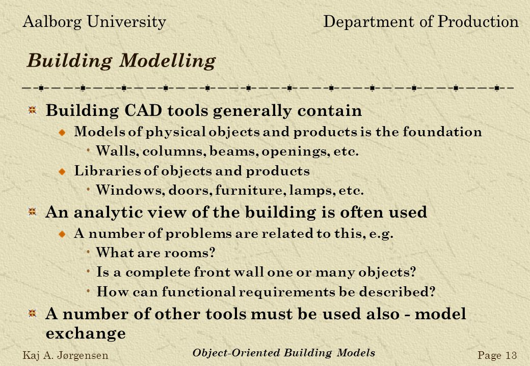 Aalborg UniversityDepartment of Production Kaj A. JørgensenPage 13 Object-Oriented Building Models Building Modelling Building CAD tools generally con