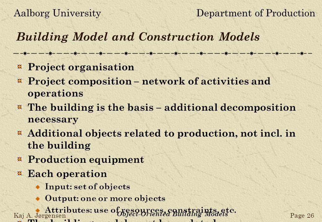 Aalborg UniversityDepartment of Production Kaj A. JørgensenPage 26 Object-Oriented Building Models Building Model and Construction Models Project orga
