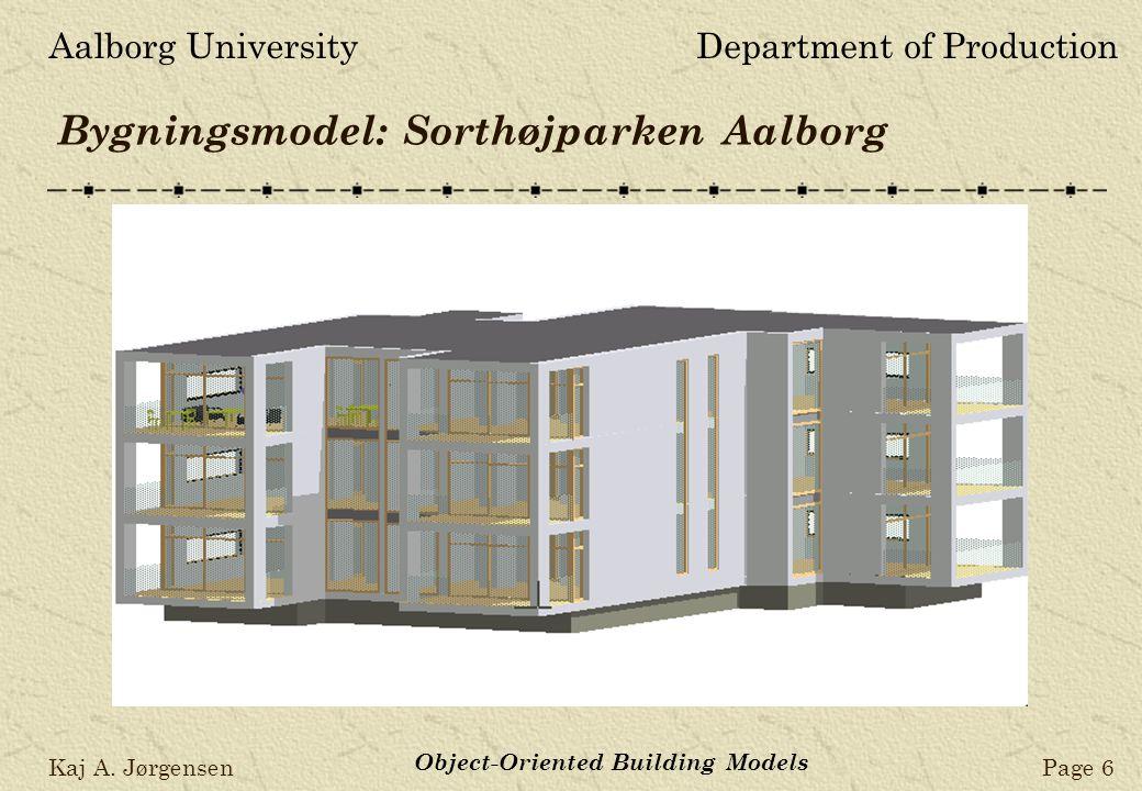 Aalborg UniversityDepartment of Production Kaj A. JørgensenPage 6 Object-Oriented Building Models Bygningsmodel: Sorthøjparken Aalborg