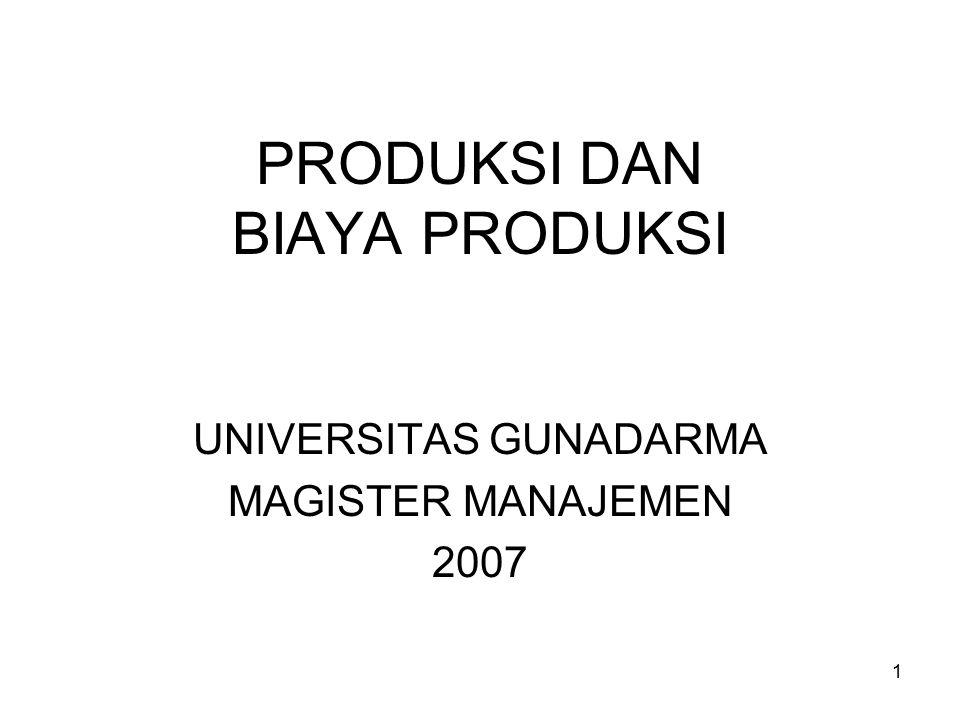 1 PRODUKSI DAN BIAYA PRODUKSI UNIVERSITAS GUNADARMA MAGISTER MANAJEMEN 2007