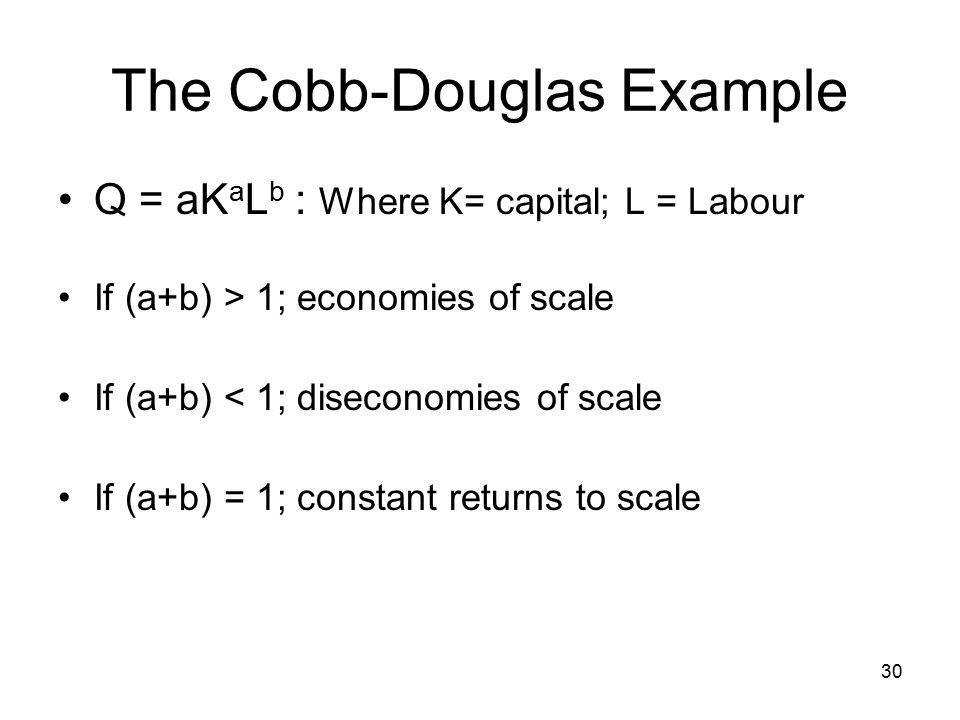 30 The Cobb-Douglas Example Q = aK a L b : Where K= capital; L = Labour If (a+b) > 1; economies of scale If (a+b) < 1; diseconomies of scale If (a+b) = 1; constant returns to scale