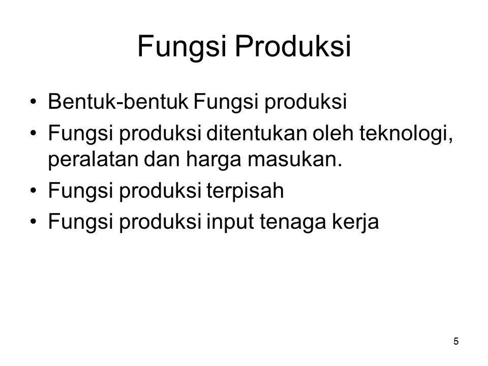 5 Fungsi Produksi Bentuk-bentuk Fungsi produksi Fungsi produksi ditentukan oleh teknologi, peralatan dan harga masukan. Fungsi produksi terpisah Fungs