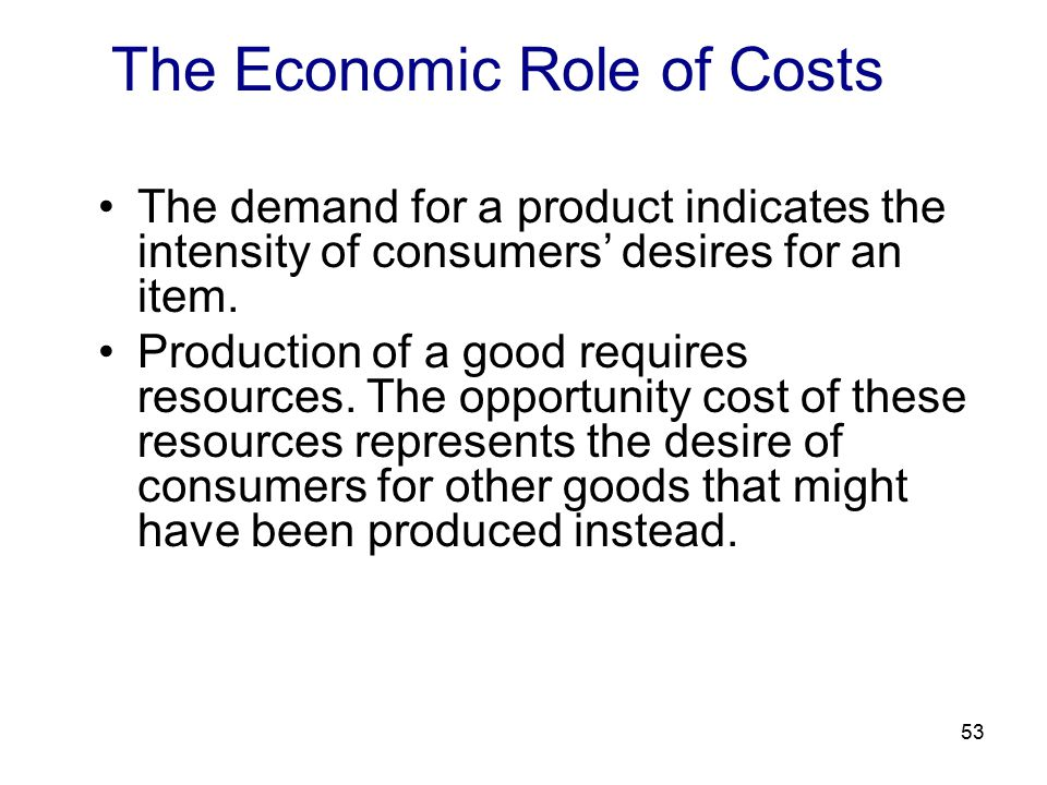 53 The Economic Role of Costs The demand for a product indicates the intensity of consumers' desires for an item.
