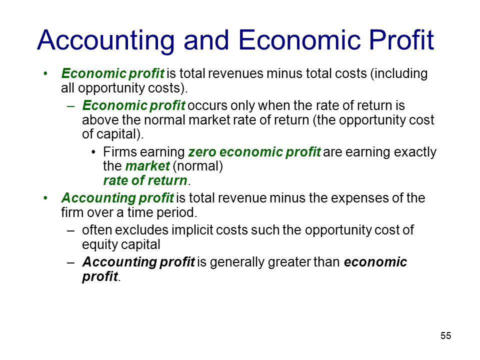 55 Accounting and Economic Profit Economic profit is total revenues minus total costs (including all opportunity costs).