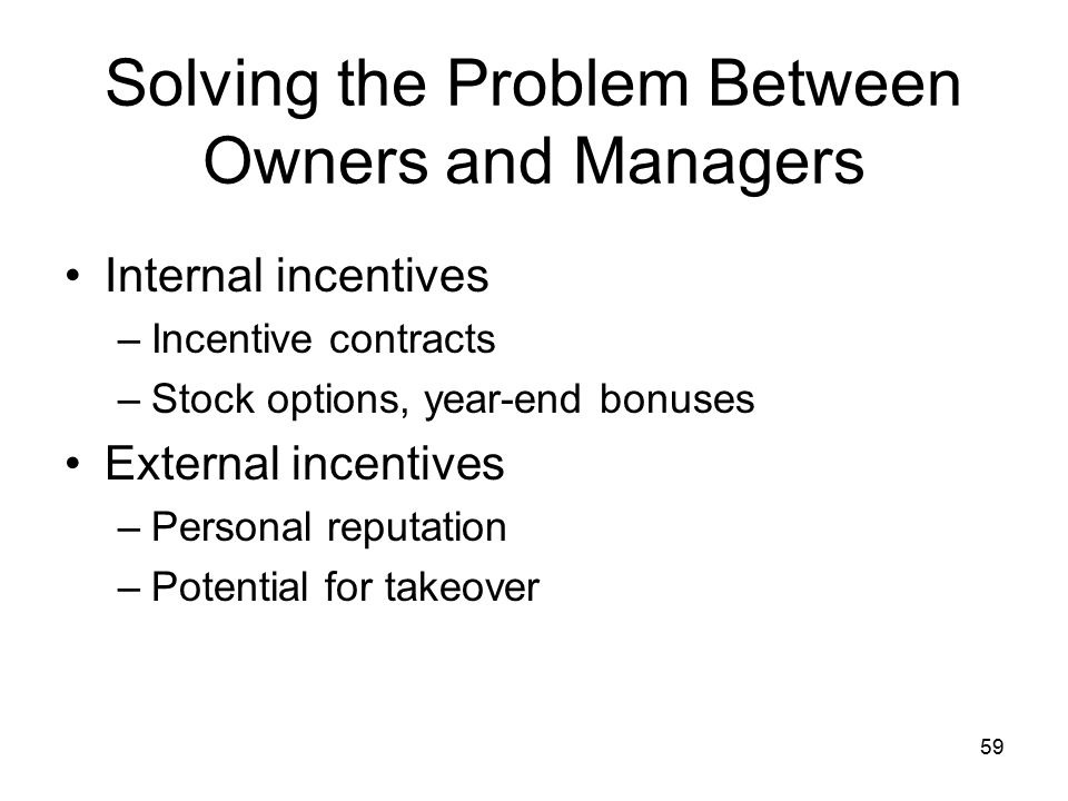59 Solving the Problem Between Owners and Managers Internal incentives –Incentive contracts –Stock options, year-end bonuses External incentives –Personal reputation –Potential for takeover