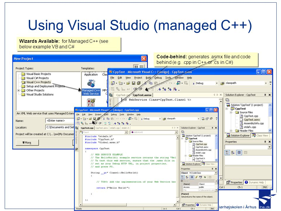 Ingeniørhøjskolen i Århus Slide 16 af 29 Using Visual Studio (managed C++) Wizards Available: for Managed C++ (see below example VB and C# Code-behind: generates.asmx file and code behind (e.g..cpp in C++ or.cs in C#)