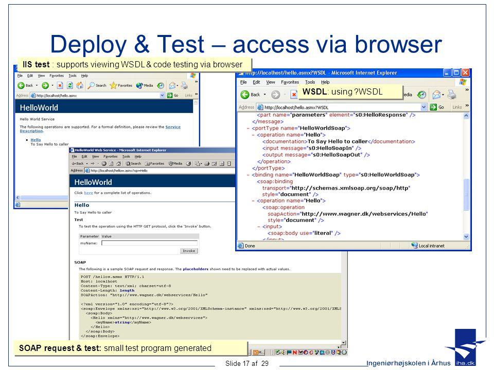 Ingeniørhøjskolen i Århus Slide 17 af 29 Deploy & Test – access via browser IIS test : supports viewing WSDL & code testing via browser WSDL: using ?WSDL SOAP request & test: small test program generated