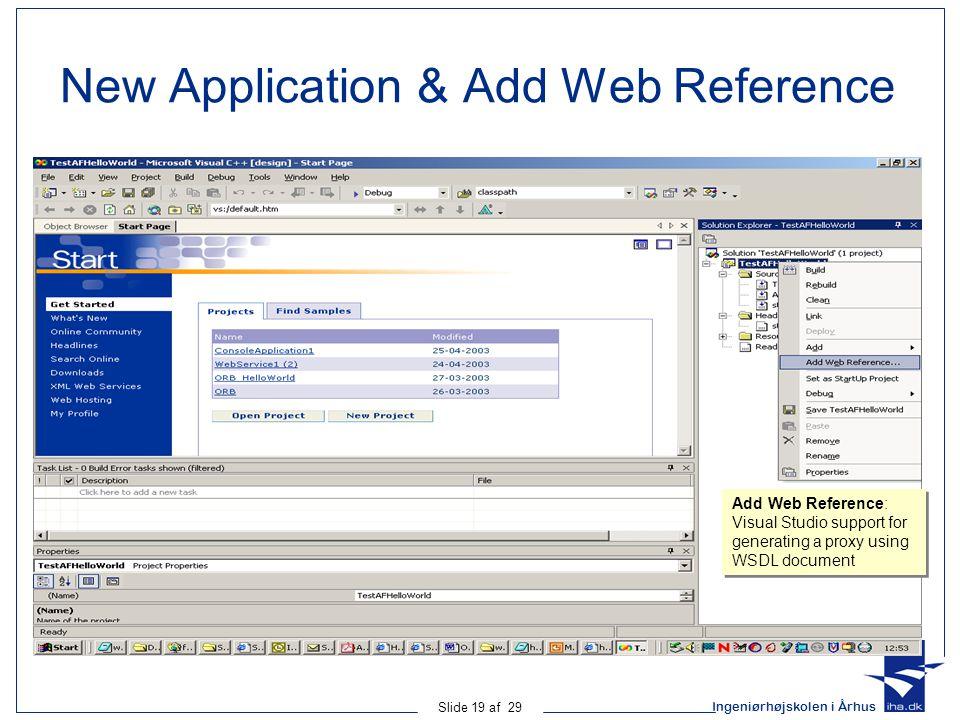 Ingeniørhøjskolen i Århus Slide 19 af 29 New Application & Add Web Reference Add Web Reference: Visual Studio support for generating a proxy using WSDL document