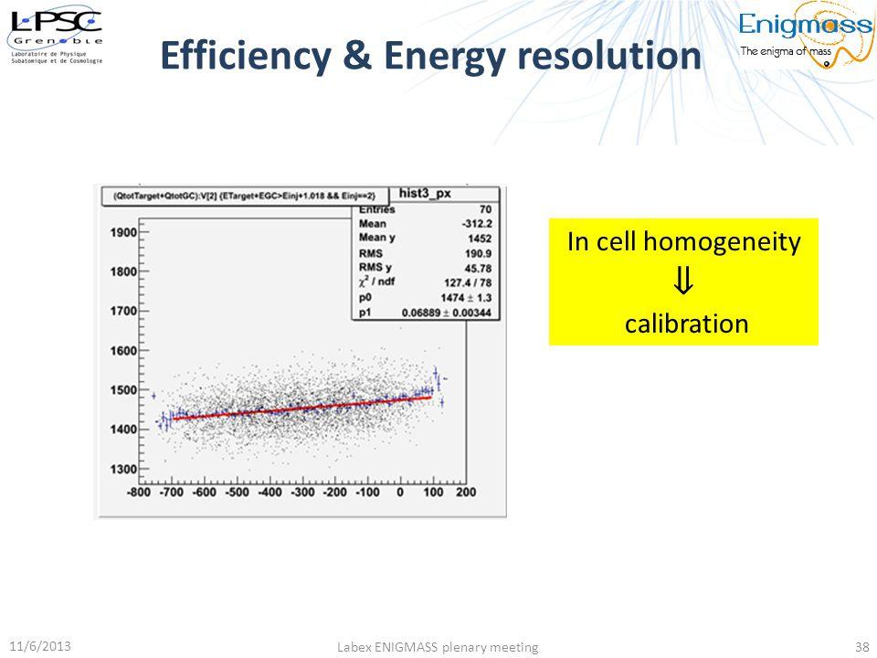 Efficiency & Energy resolution 11/6/2013 Labex ENIGMASS plenary meeting38