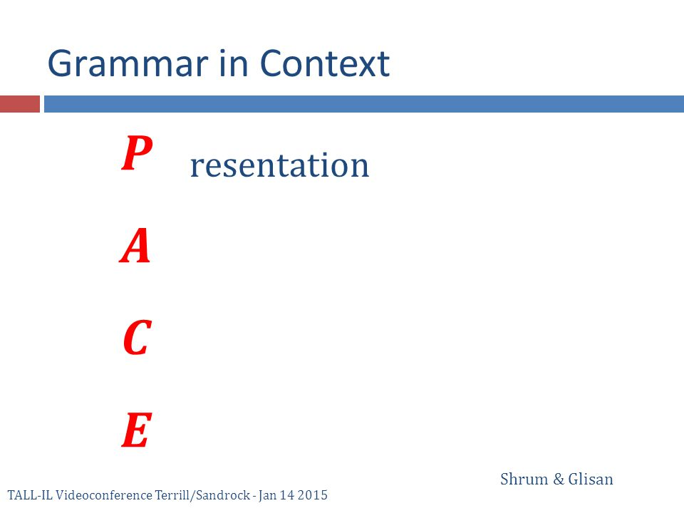 PACEPACE resentation Grammar in Context Shrum & Glisan TALL-IL Videoconference Terrill/Sandrock - Jan 14 2015