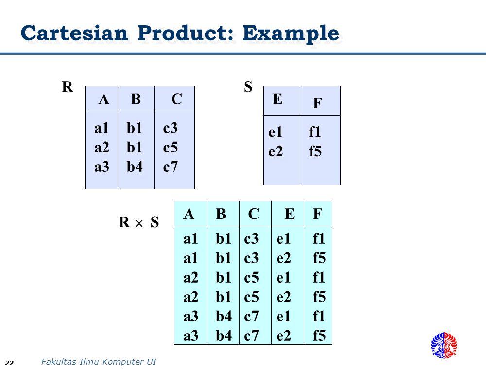 Fakultas Ilmu Komputer UI 22 Cartesian Product: Example ABC a1 a2 a3 b1 b1 b4 c3 c5 c7 F E f1 f5 e1 e2 ABCE a1 a2 a3 b1 b4 c3 c5 c7 e1 e2 e1 e2 e1 e2 RS R S F f1 f5 f1 f5 f1 f5 