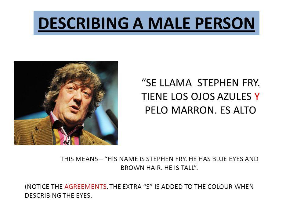 """DESCRIBING A MALE PERSON """"SE LLAMA STEPHEN FRY. TIENE LOS OJOS AZULES Y PELO MARRON. ES ALTO THIS MEANS – """"HIS NAME IS STEPHEN FRY. HE HAS BLUE EYES A"""