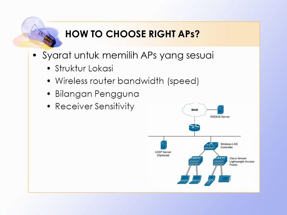HOW TO CHOOSE RIGHT APs? Syarat untuk memilih APs yang sesuai Struktur Lokasi Wireless router bandwidth (speed) Bilangan Pengguna Receiver Sensitivity