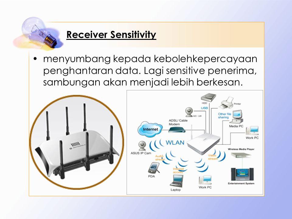Receiver Sensitivity menyumbang kepada kebolehkepercayaan penghantaran data. Lagi sensitive penerima, sambungan akan menjadi lebih berkesan.