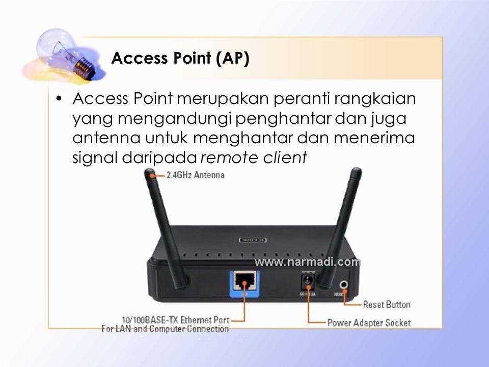 Access Point (AP) Access Point merupakan peranti rangkaian yang mengandungi penghantar dan juga antenna untuk menghantar dan menerima signal daripada remote client