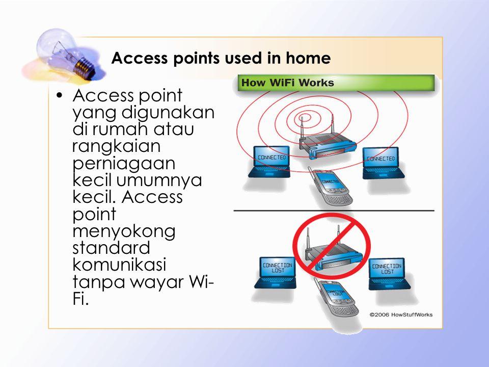 Access points used in home Access point yang digunakan di rumah atau rangkaian perniagaan kecil umumnya kecil. Access point menyokong standard komunik