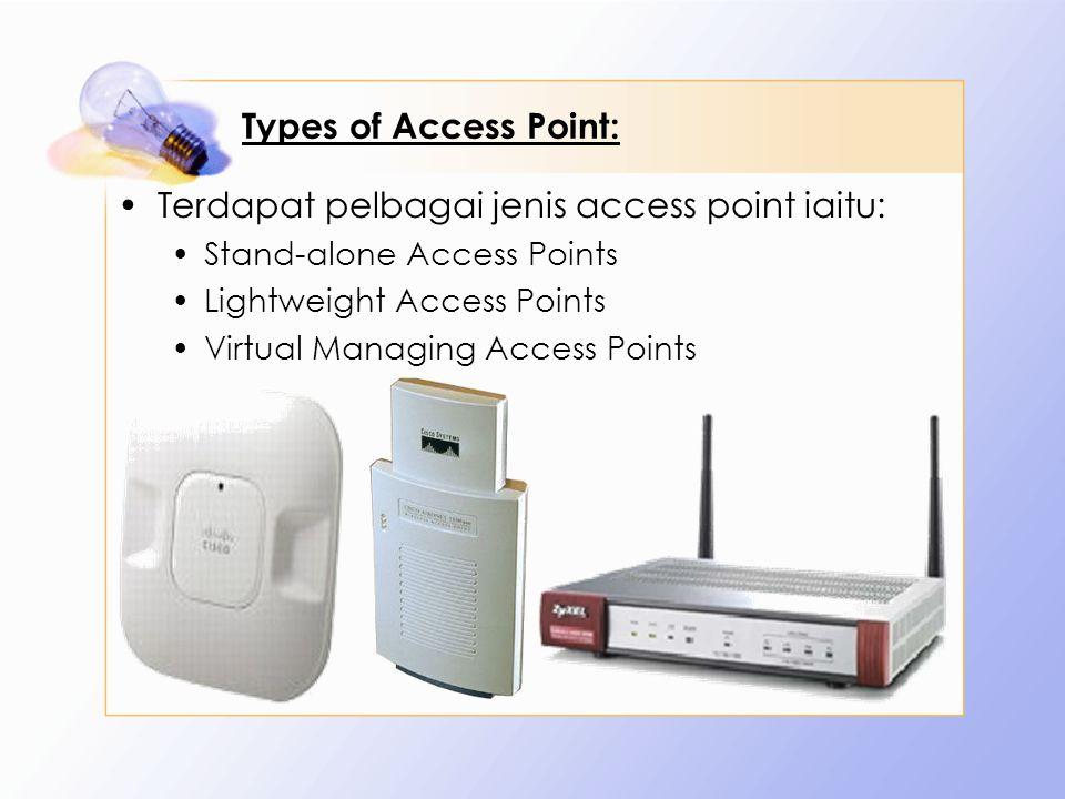 Types of Access Point: Terdapat pelbagai jenis access point iaitu: Stand-alone Access Points Lightweight Access Points Virtual Managing Access Points