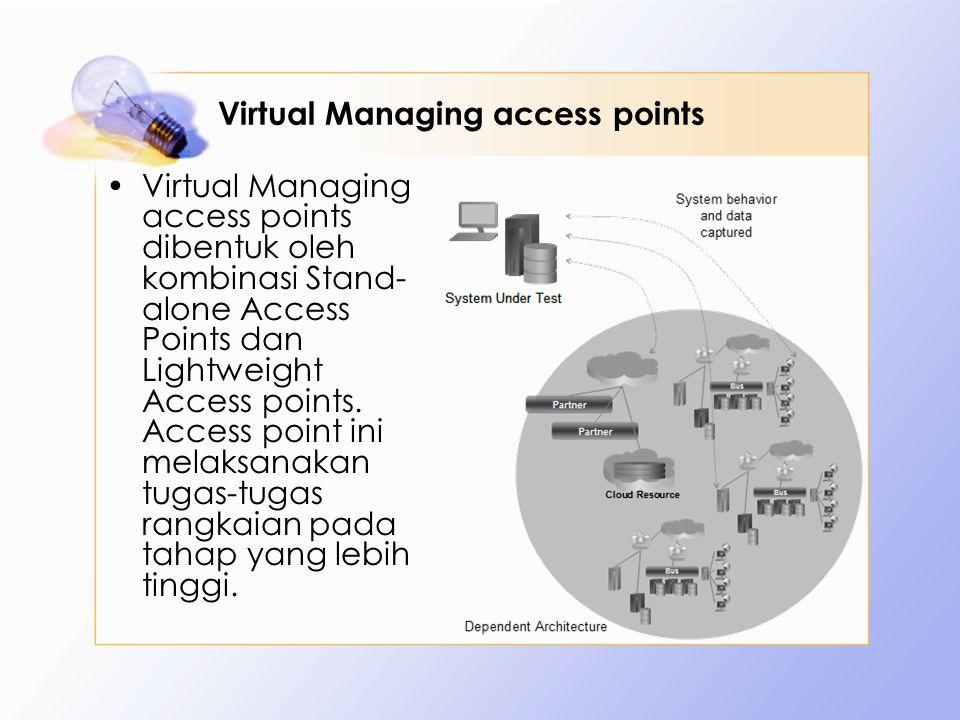 Virtual Managing access points Virtual Managing access points dibentuk oleh kombinasi Stand- alone Access Points dan Lightweight Access points.