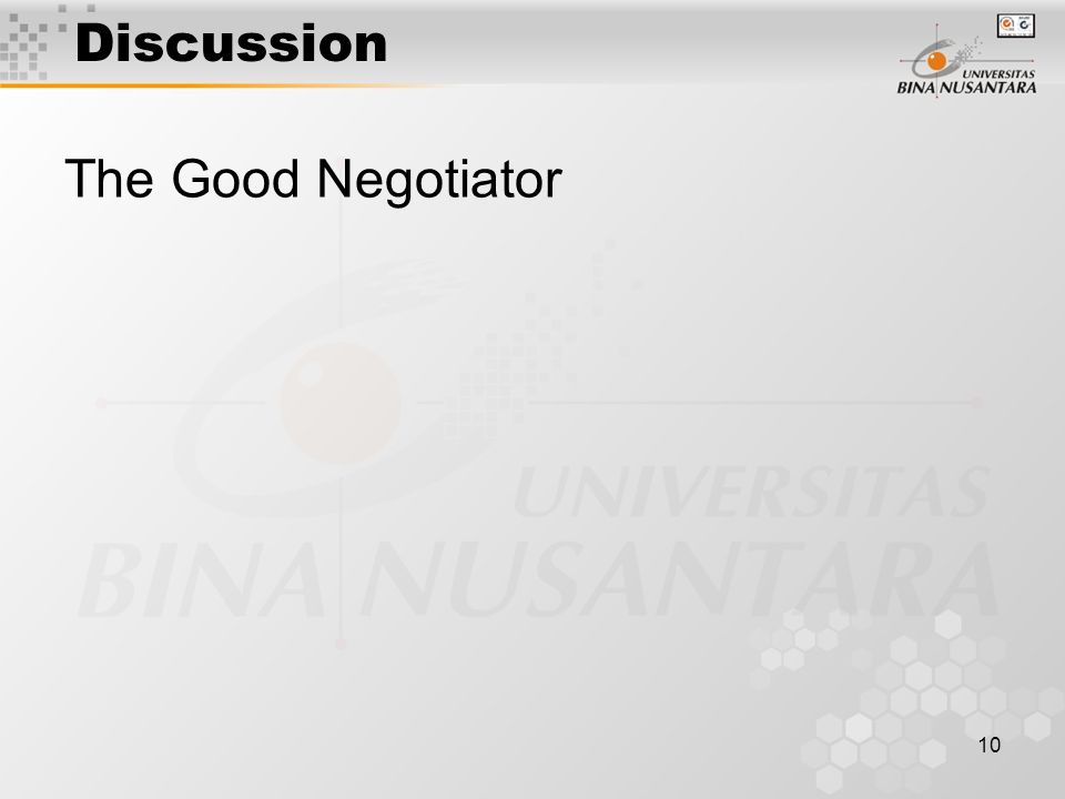 10 Discussion The Good Negotiator