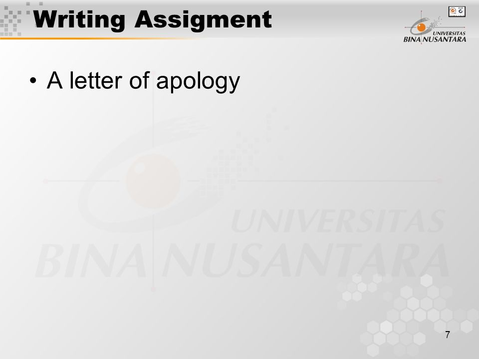 7 Writing Assigment A letter of apology