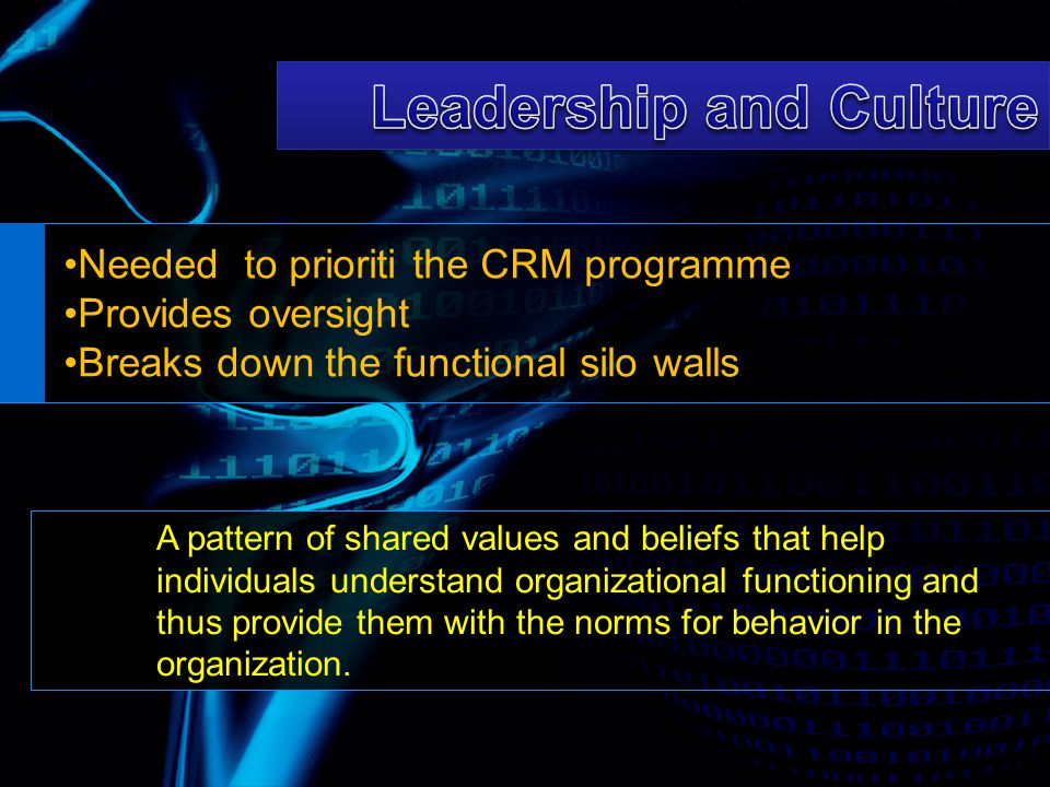 Needed to prioriti the CRM programme Provides oversight Breaks down the functional silo walls A pattern of shared values and beliefs that help individ