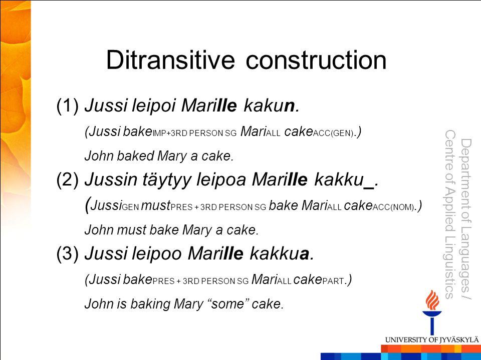 Department of Languages / Centre of Applied Linguistics Ditransitive construction (1)Jussi leipoi Marille kakun.