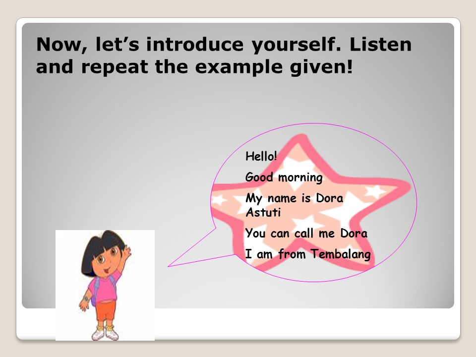 Now, let's introduce yourself. Listen and repeat the example given.