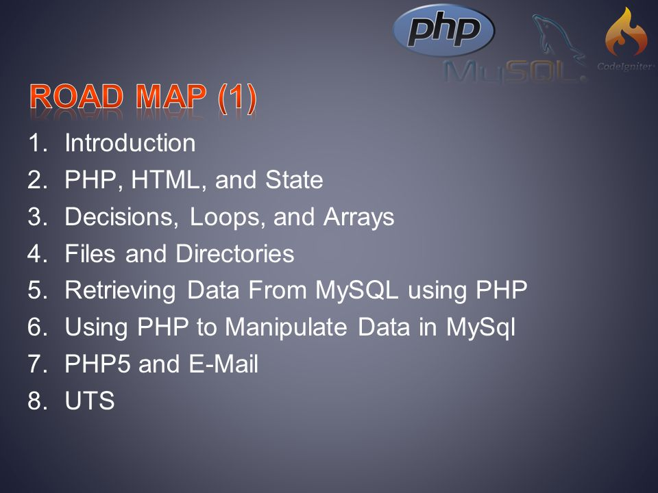 1.Introduction 2.PHP, HTML, and State 3.Decisions, Loops, and Arrays 4.Files and Directories 5.Retrieving Data From MySQL using PHP 6.Using PHP to Manipulate Data in MySql 7.PHP5 and E-Mail 8.UTS