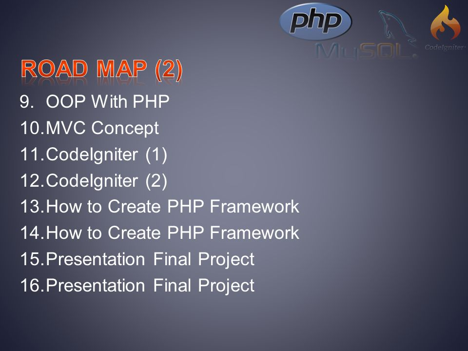 9.OOP With PHP 10.MVC Concept 11.CodeIgniter (1) 12.CodeIgniter (2) 13.How to Create PHP Framework 14.How to Create PHP Framework 15.Presentation Final Project 16.Presentation Final Project