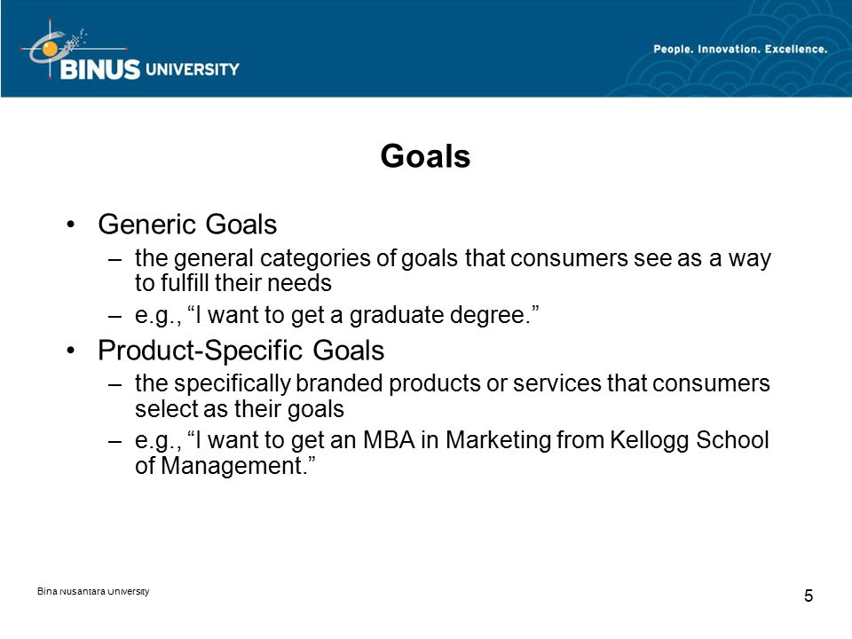 "Bina Nusantara University 5 Goals Generic Goals –the general categories of goals that consumers see as a way to fulfill their needs –e.g., ""I want to"