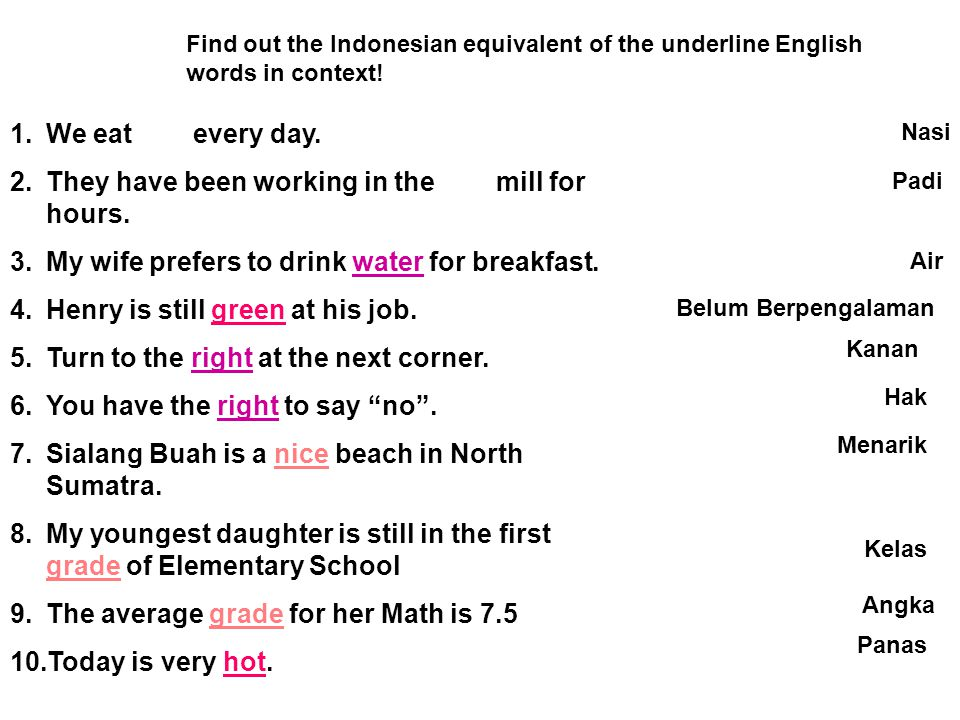 Exercises Find out the Indonesian equivalent of the underline English words in context.