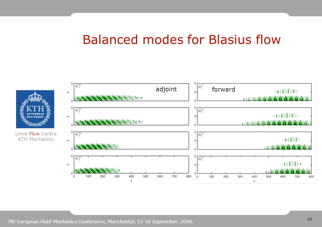 23 Linné Flow Centre KTH Mechanics 7th European Fluid Mechanics Conference, Manchester, 15-18 September, 2008. Balanced modes for Blasius flow adjoint
