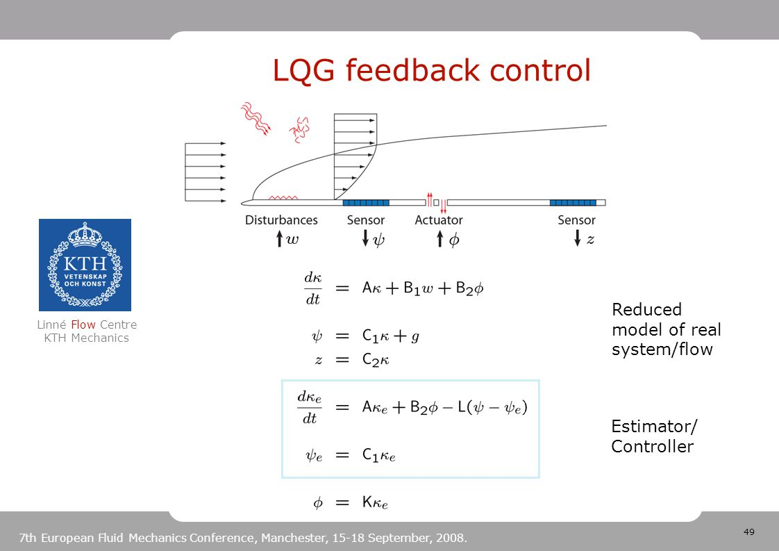 49 Linné Flow Centre KTH Mechanics 7th European Fluid Mechanics Conference, Manchester, 15-18 September, 2008. LQG feedback control Estimator/ Control