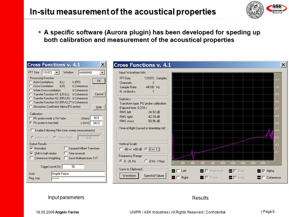 | Page 7 18.05.2006 Angelo Farina UNIPR / ASK Industries | All Rights Reserved | Confidential In-situ measurement of the acoustical properties  The probe needs to be calibrated for proper gain and phase matching at low frequency Calibration over a reflecting surface Free-Field calibration