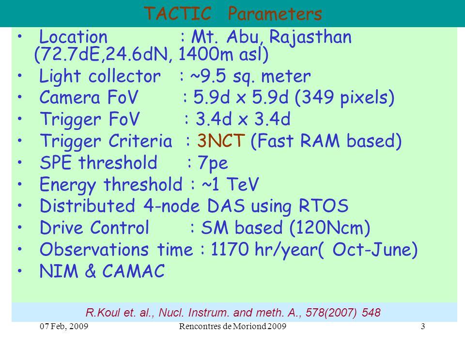 07 Feb, 2009Rencontres de Moriond 20093 TACTIC Parameters Location : Mt.