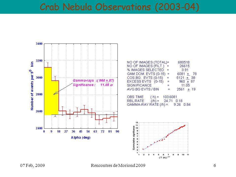 07 Feb, 2009Rencontres de Moriond 20096 Crab Nebula Observations (2003-04)